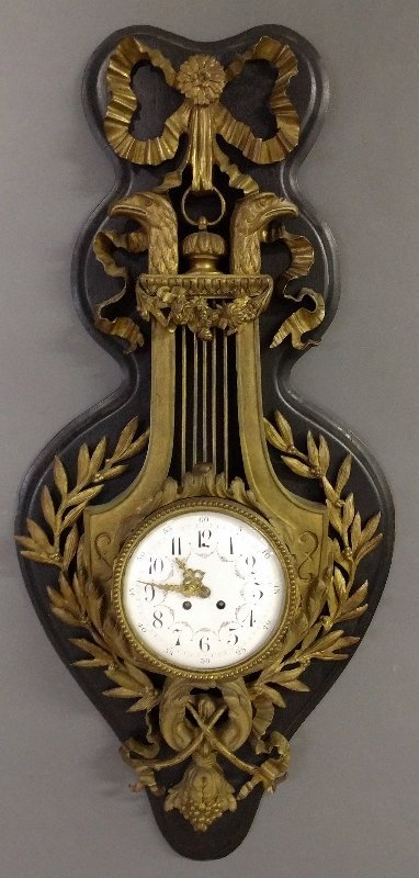 French bronze cartel wall clock with black oak back, c.