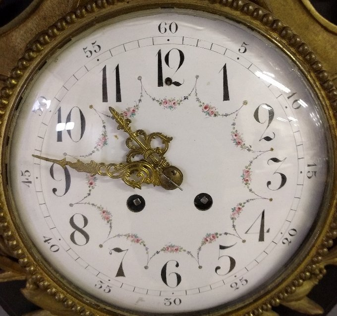 French bronze cartel wall clock with black oak back, c. - 3