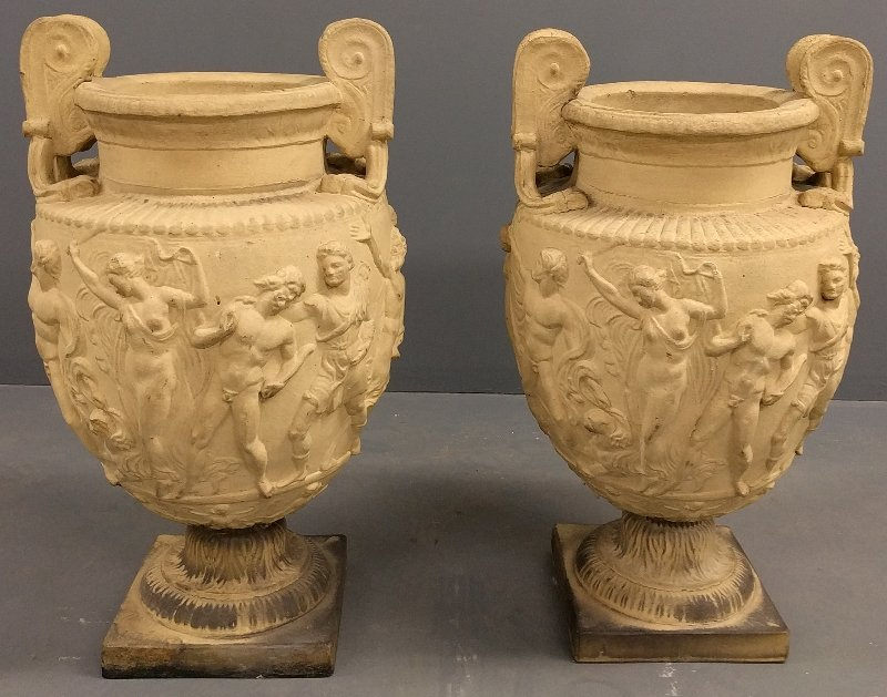Pair of signed Galloway Grecian form terra cotta urns