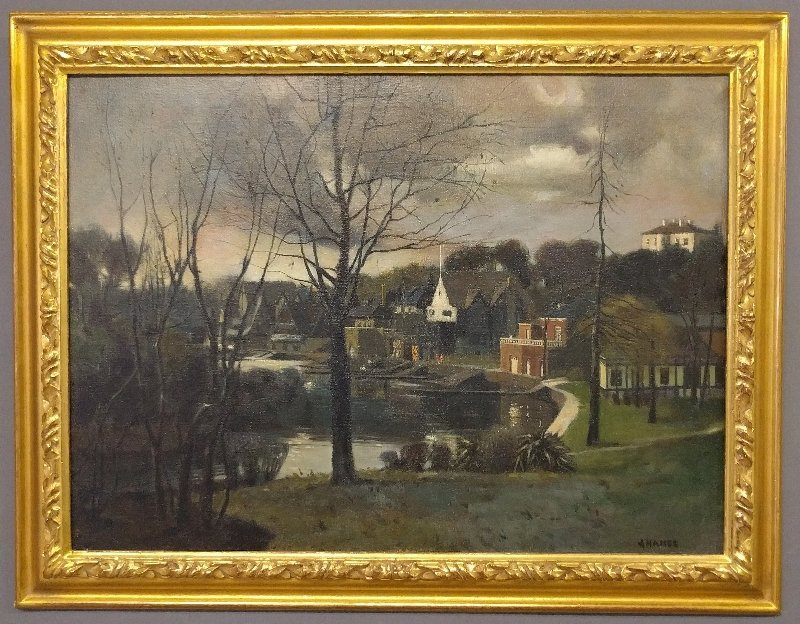 Oil on canvas painting of Boat House Row along the