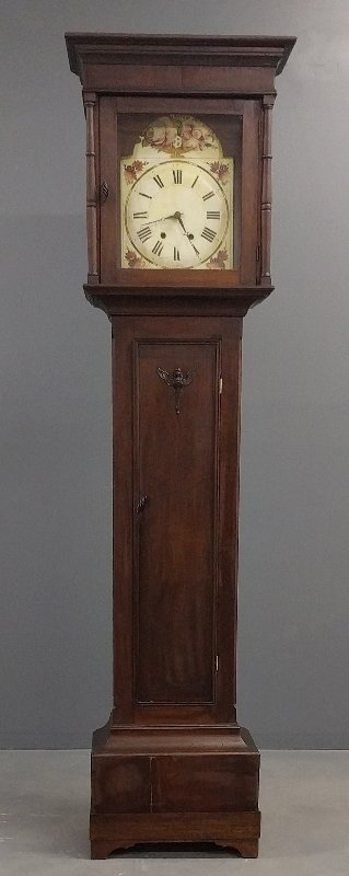 Mahogany cased flat top tall case clock with wooden