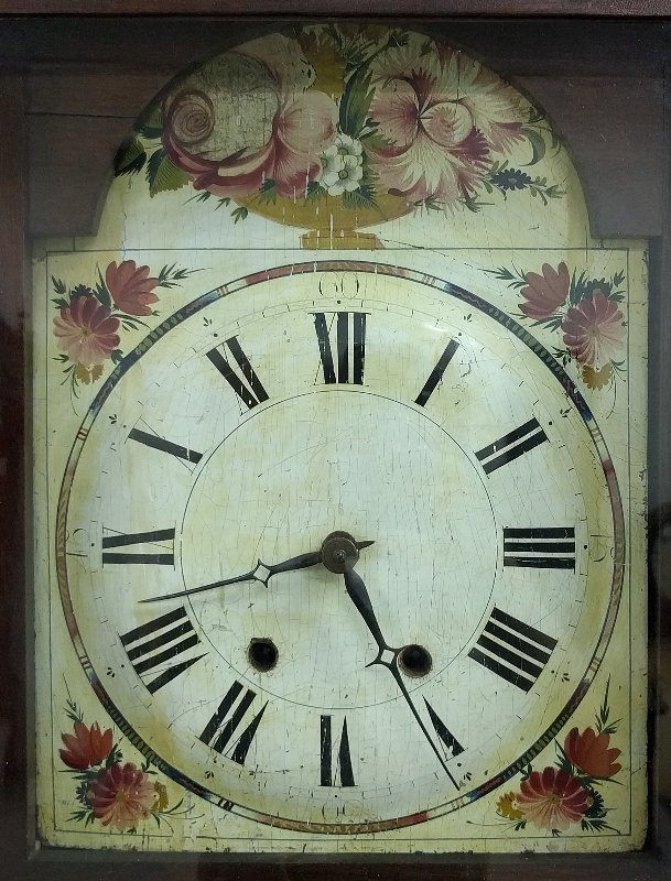 Mahogany cased flat top tall case clock with wooden - 3