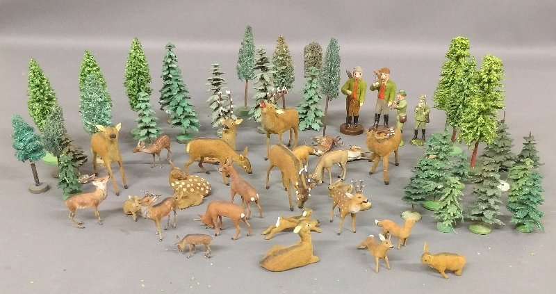 Grouping of German miniature animals of composition,