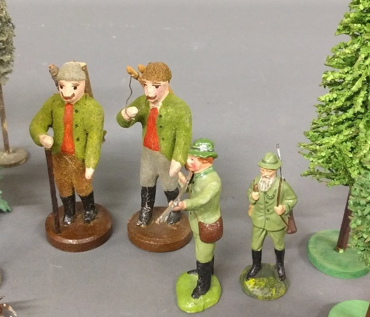 Grouping of German miniature animals of composition, - 2