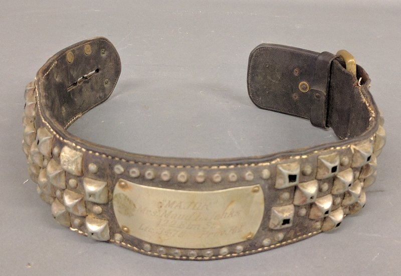Massive leather and metal dog collar with inscription