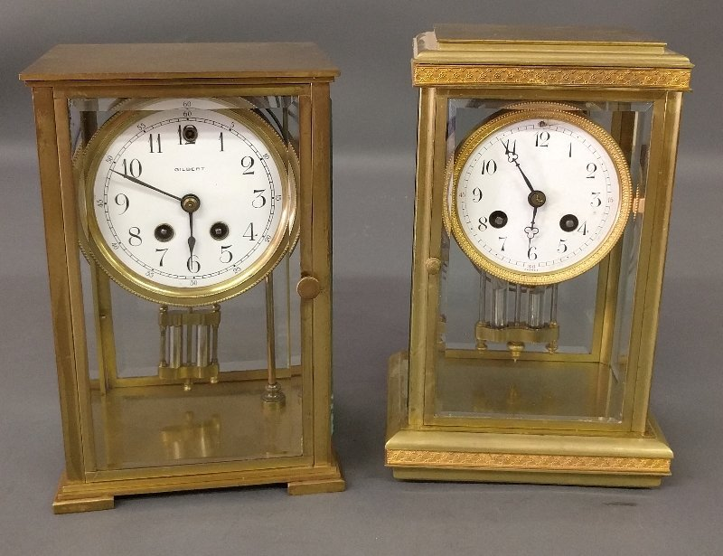 Gilbert brass cased crystal regulator mantle clock, 9