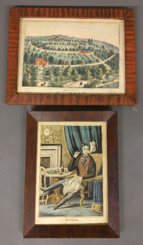 """Framed lithograph by J. Baille titled """"Single"""", c."""