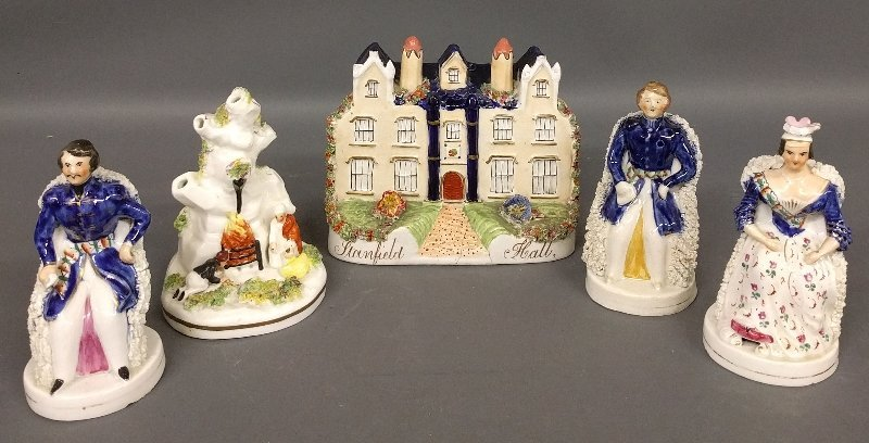 Five pieces of Staffordshire including Stanfield Hall,