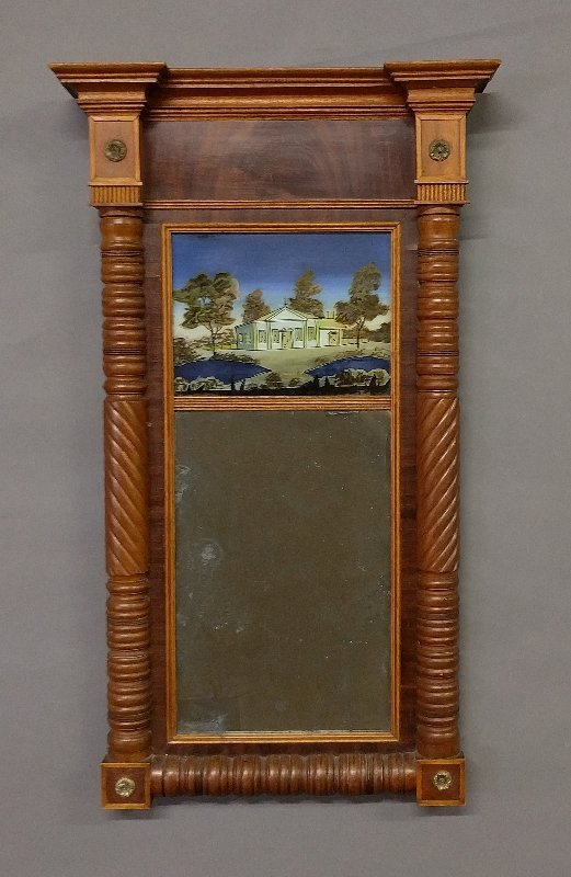 Sheraton mirror with eglomise panel and original glass,