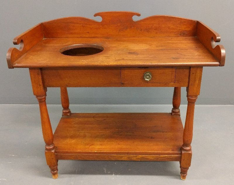 Large Sheraton pine washstand, 19th c. 34 inches high,