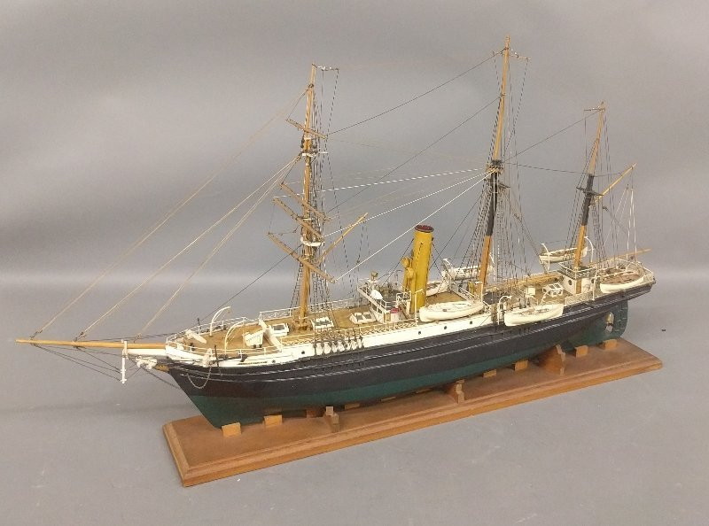 Wood ship model of the USCG barkentine rigged steamship