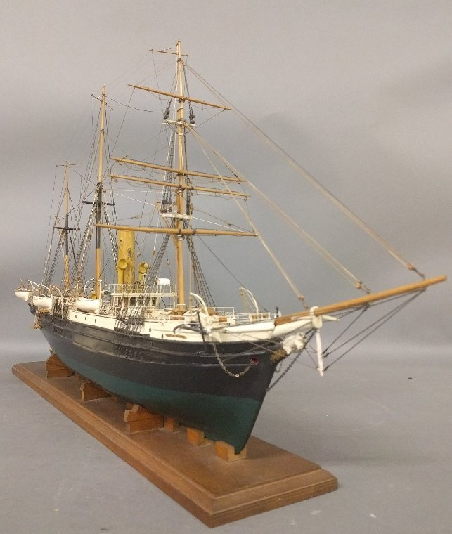 Wood ship model of the USCG barkentine rigged steamship - 2