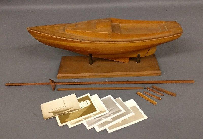 Ship model of a yacht, by Adalbert Melas, on a stand an