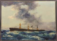 Oil on canvas painting of the merchant steamship Fred.