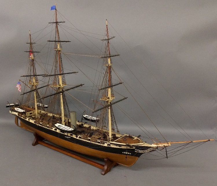 Wood ship model of a sail assisted steamship. 	26 ½ inc