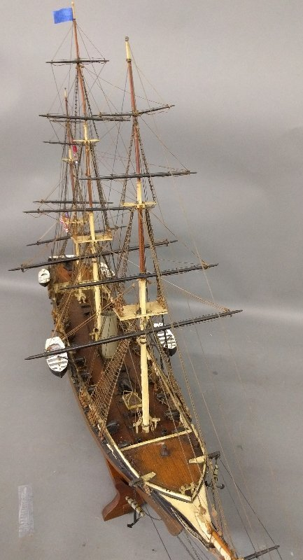 Wood ship model of a sail assisted steamship. 	26 ½ inc - 2