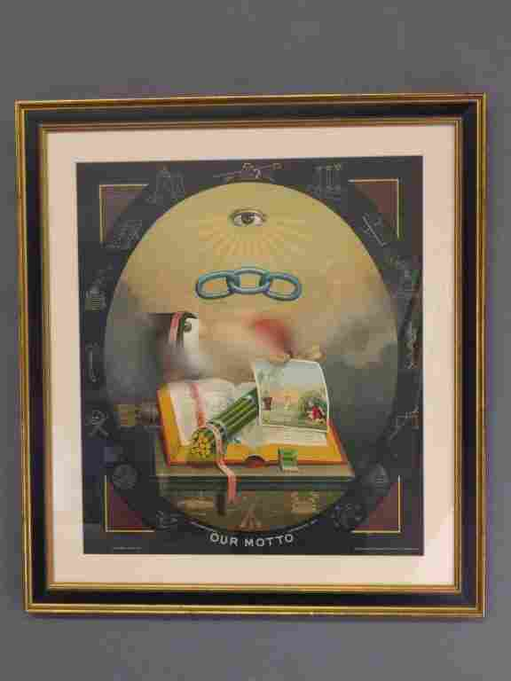 Framed and matted copy of an odd fellows 1883 print.