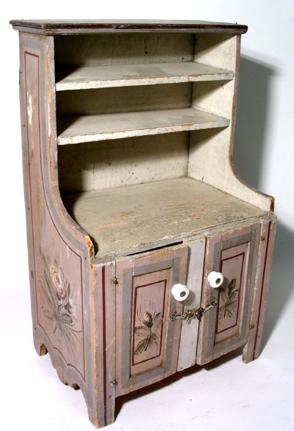 "12: Miniature Dutch cupboard, paint decorated. 17.25""h."