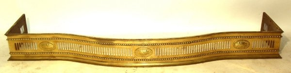 "13: Brass fire fender, late 19th c. 6""h.x57.5'l.x12.5""d"