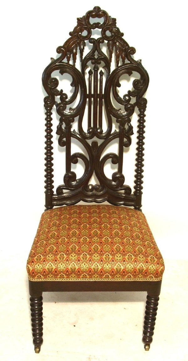 14: Gothic Revival mahogany side chair.