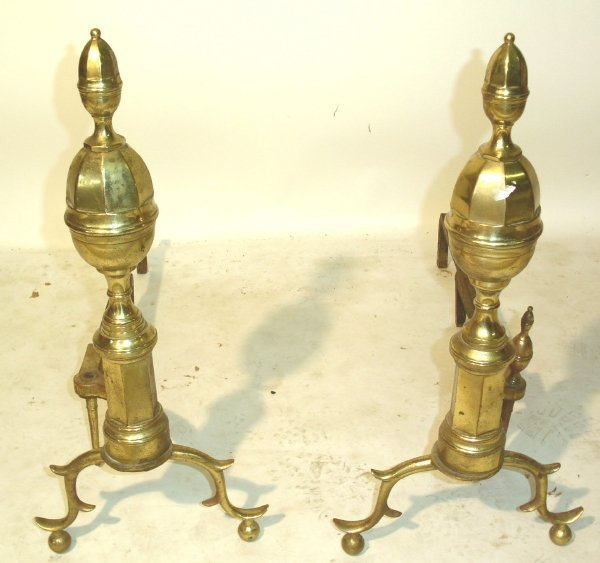 "15: Pair of federal style brass andirons 26""h.x29""d."