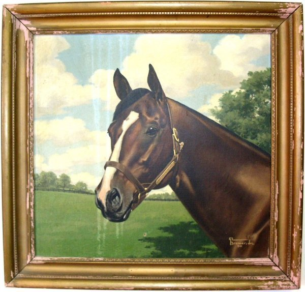 "17: Equine portrait, tempura on canvas of ""Carrara Marb"