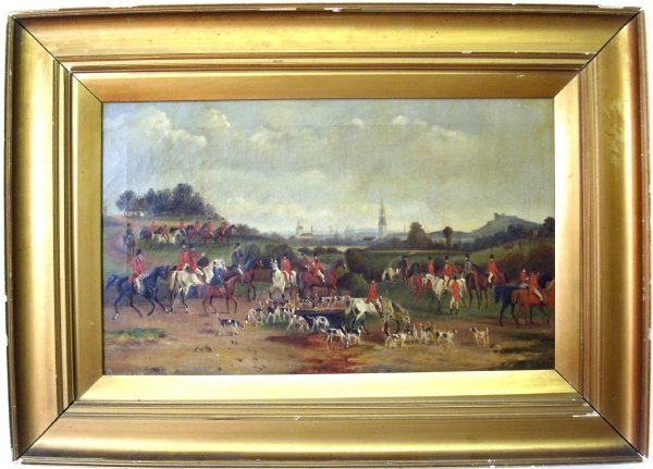 "20: Oil on canvas foxhunting scene, English, signed ""T."
