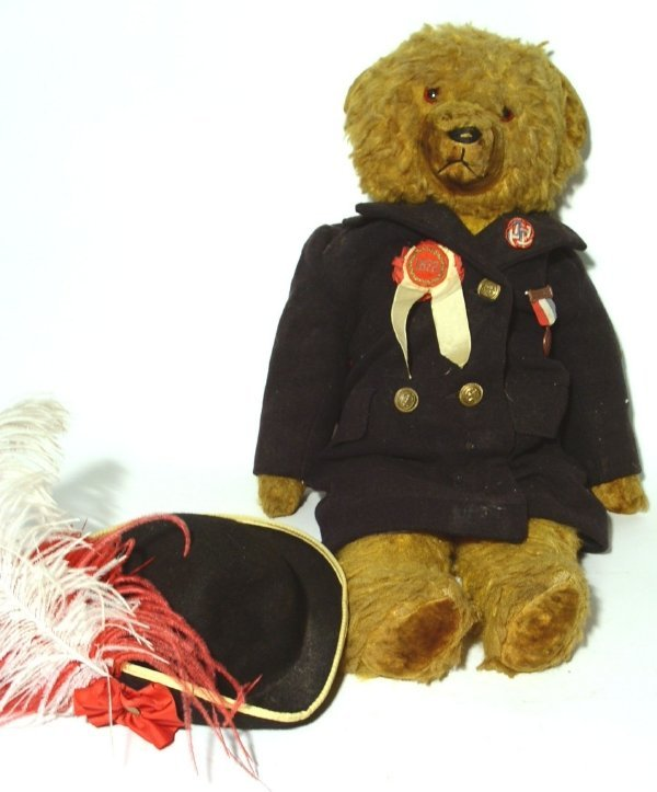 24: Mohair teddy bear wearing Daughter's of Union Veter