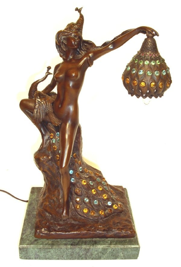 "31: Jeweled bronze lamp signed ""Walfres"" of a nude woma"