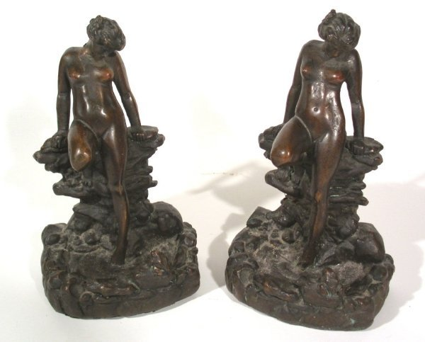 "33: Pair faux bronze bookends of nudes signed ""K.B.W.-J"