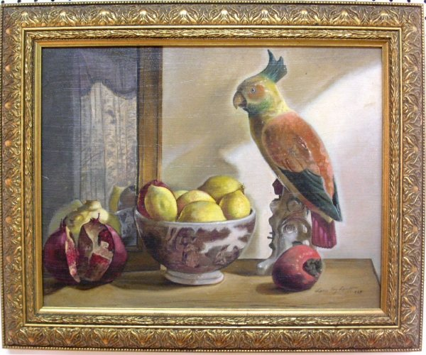 34: Oil on canvas still life with porcelain parrot sign