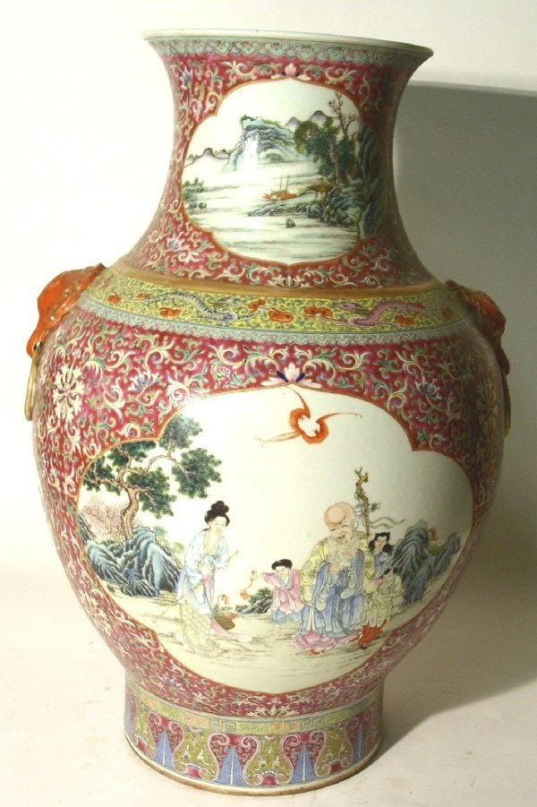 42: Pair Chinese porcelain temple urns, late 19th c. 24