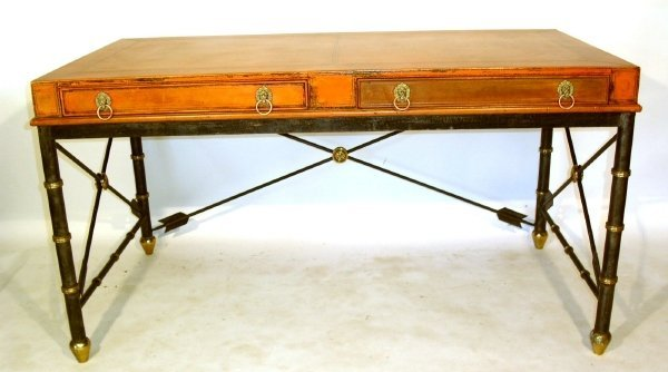 226: Italian writing desk with a wrought iron and brass