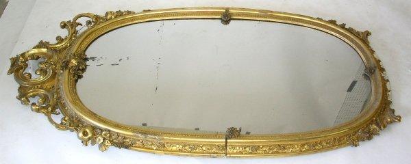 """347: Gilt oval mirror, mid 19th c. 78""""h.x40""""w."""