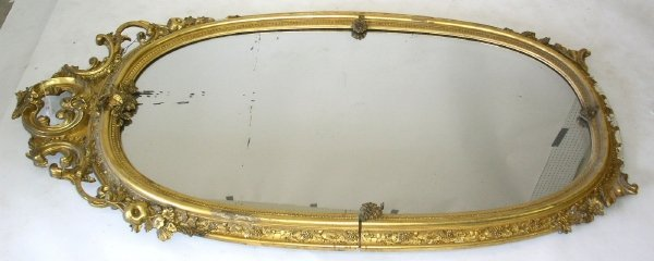 "347: Gilt oval mirror, mid 19th c. 78""h.x40""w."