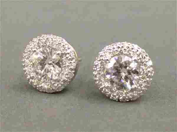 Ladies diamond earrings with 1.40 carat total weight