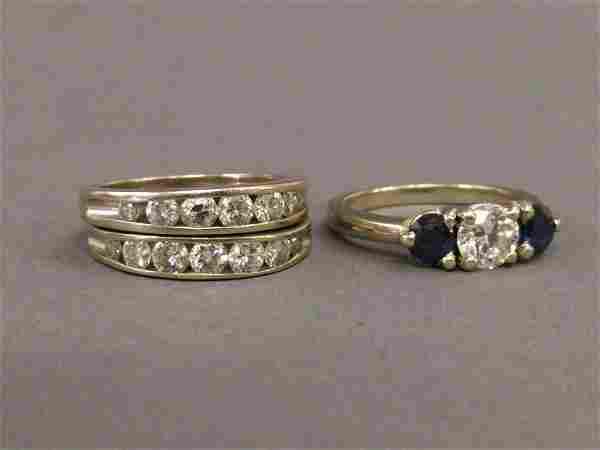 14 karat gold ladies diamond and sapphire ring, diamond