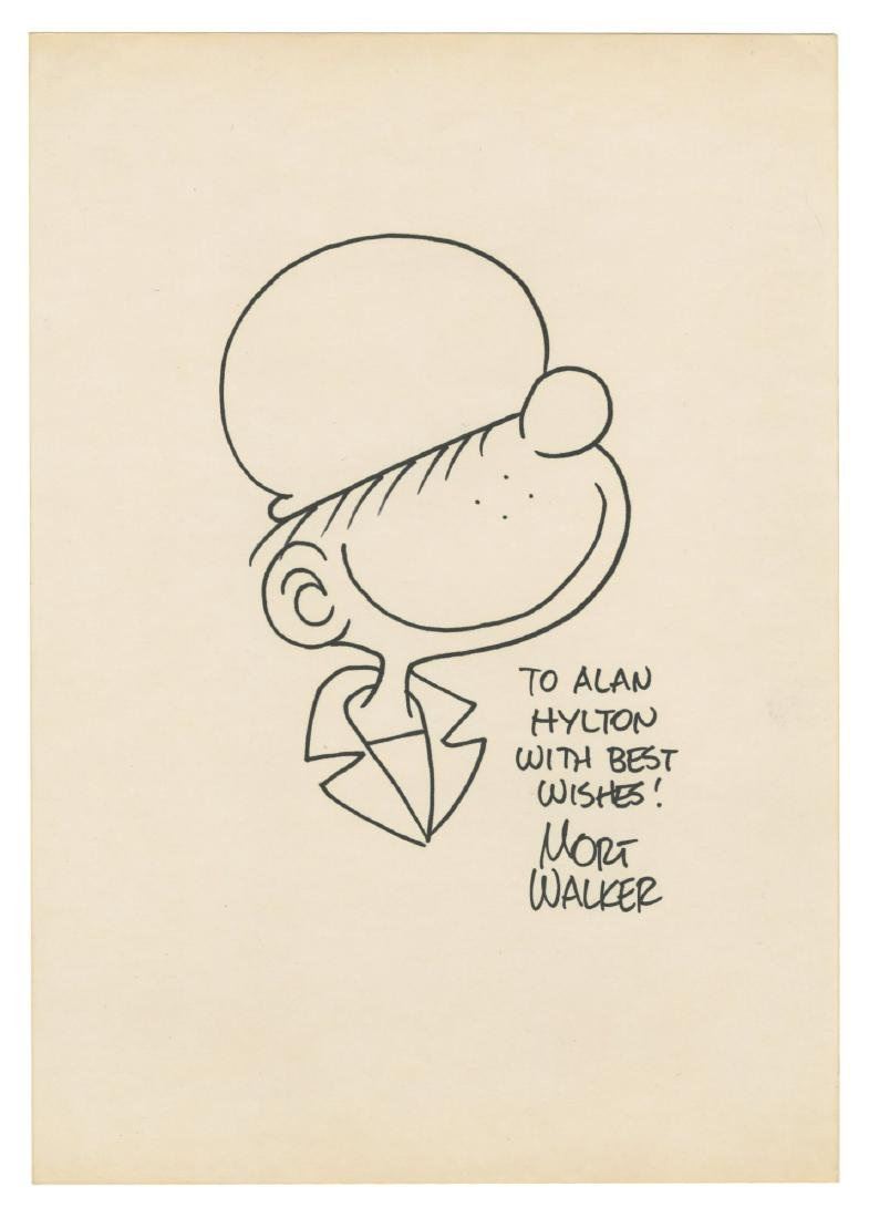 "Mort Walker Signed ""Beetle Bailey"" Drawing."
