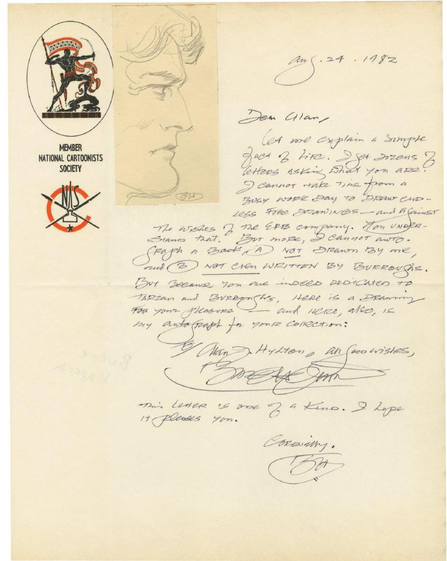 """Burne Hogarth Signed """"Tarzan"""" Drawing and Letter."""