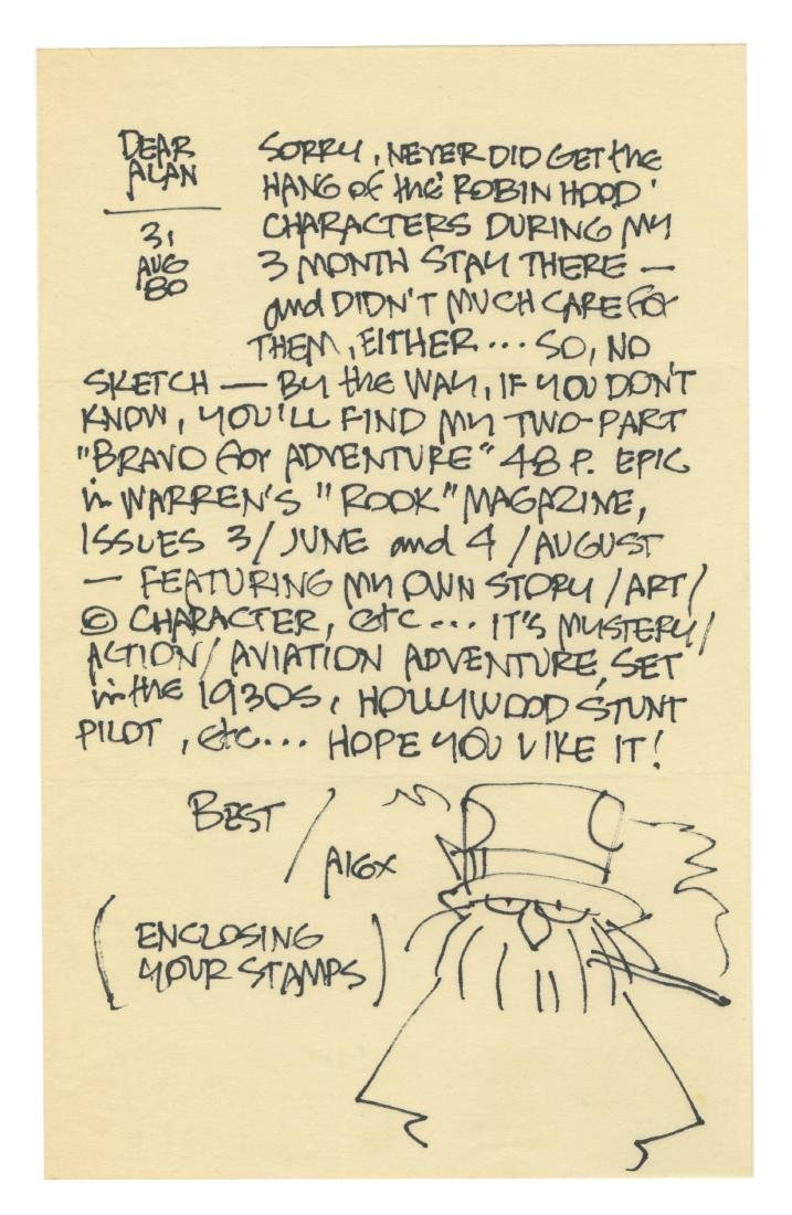Alex Toth Letter with Self-Portrait.