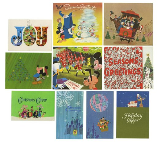 Disney Christmas Cards.Complete Set Of 1960s Disney Studio Christmas Cards
