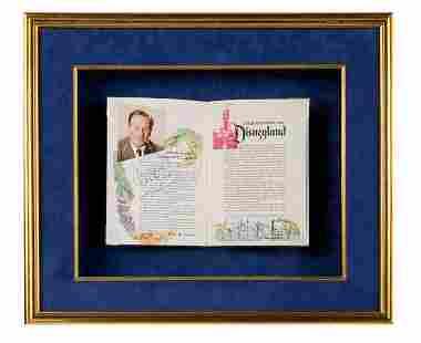 Walt Disney Signed Opening Day Guidebook.