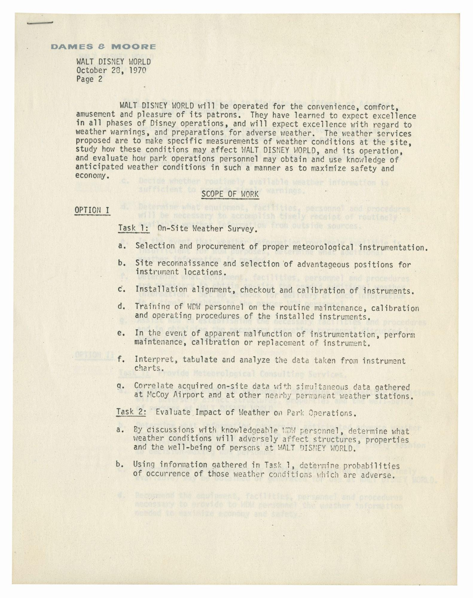 Walt Disney World Pre-Opening Meteorology Document.