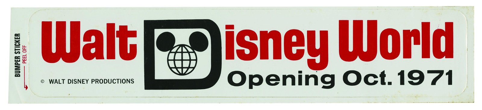Walt Disney World Pre-Opening Bumper Sticker.