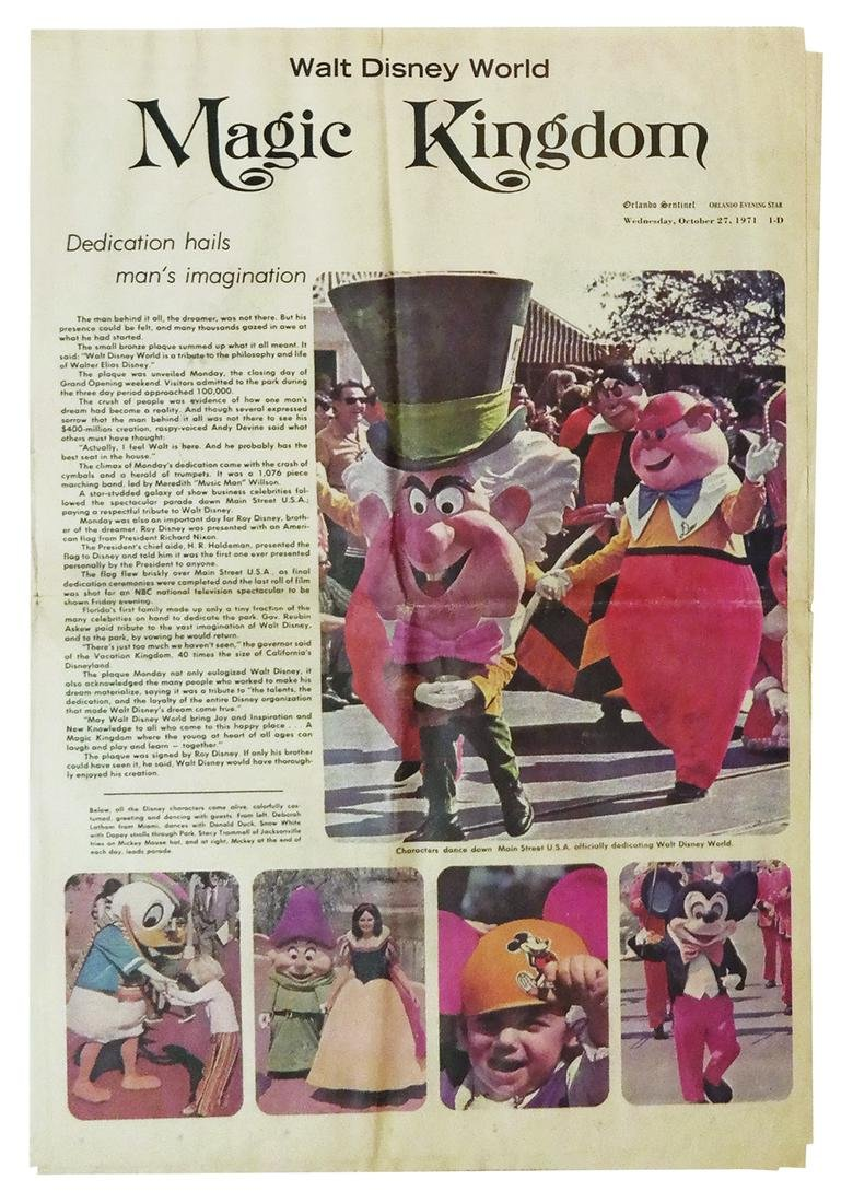 Walt Disney World Opening Day Newspaper.