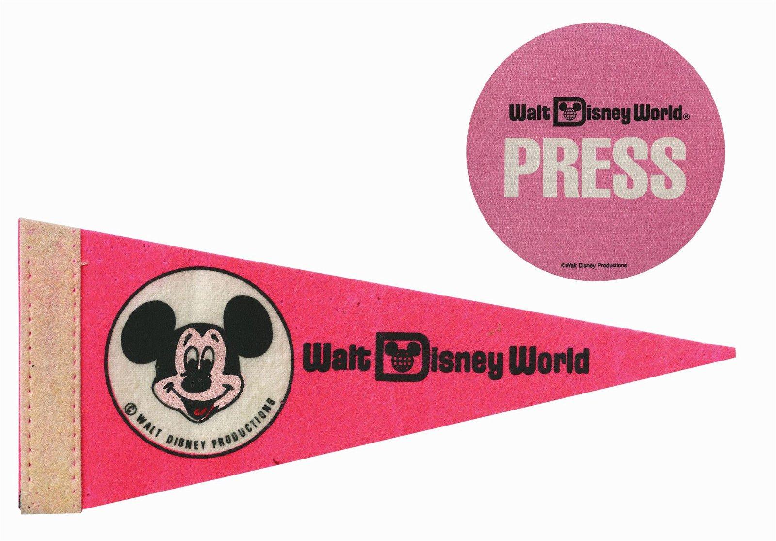 Walt Disney World Opening Pennant & Press Pass.