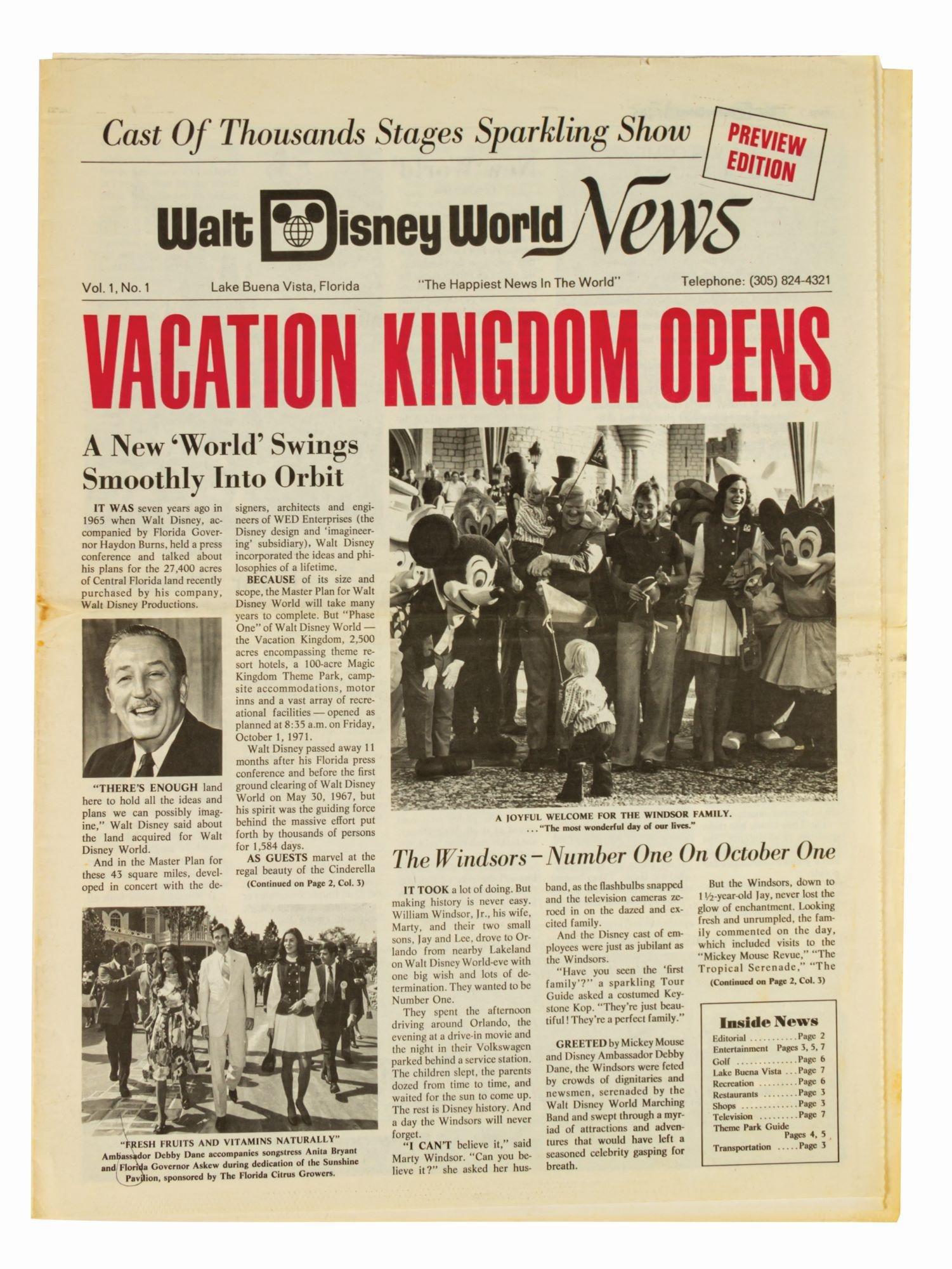 """Walt Disney World News,"" Vol 1, No 1."