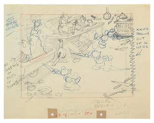"""Mickey's Nightmare"" Original Layout Drawing."
