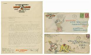 Pinto Colvig Letter and Pair of Envelope Sketches.