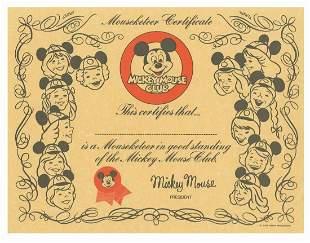 Mickey Mouse Club Membership Certificate.
